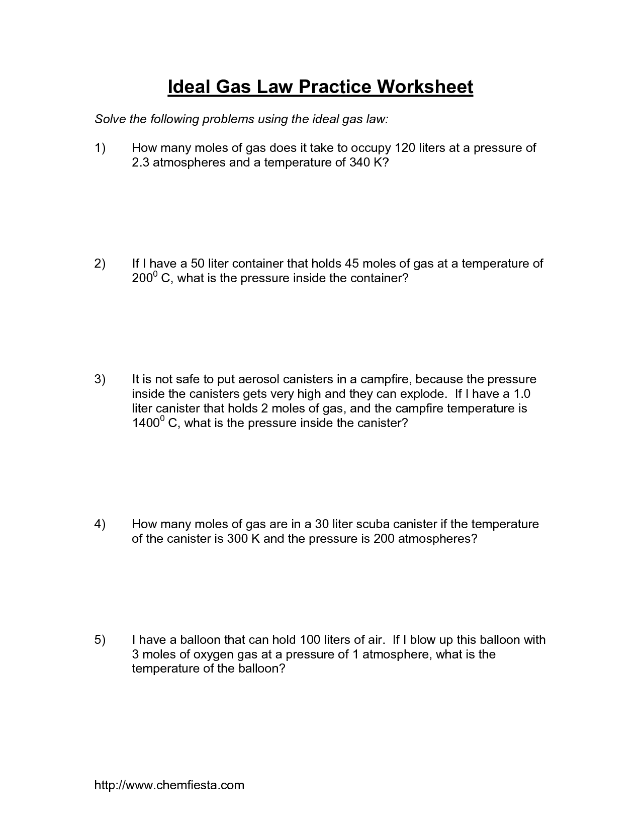 Gas Laws Worksheet Boyle S And Charles Law Review