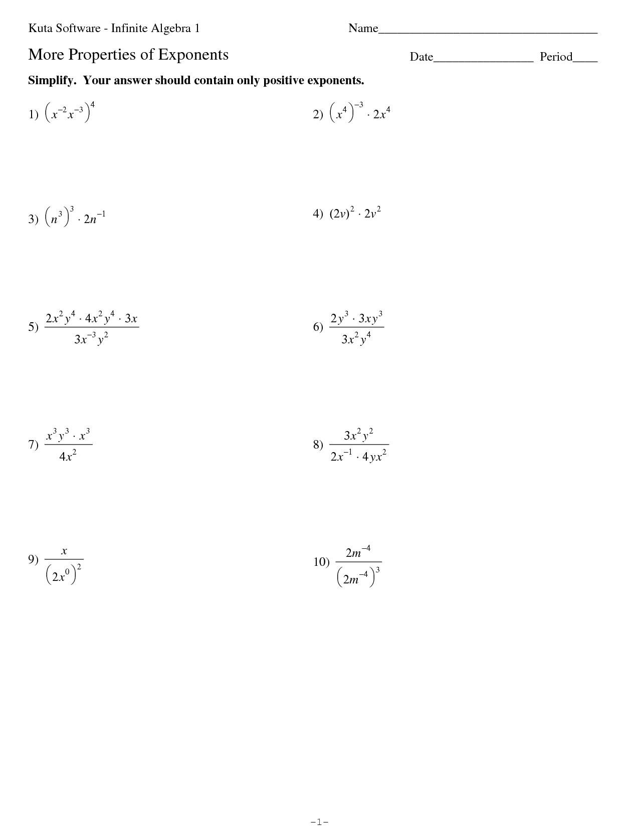 Kuta Worksheet Algebra 2