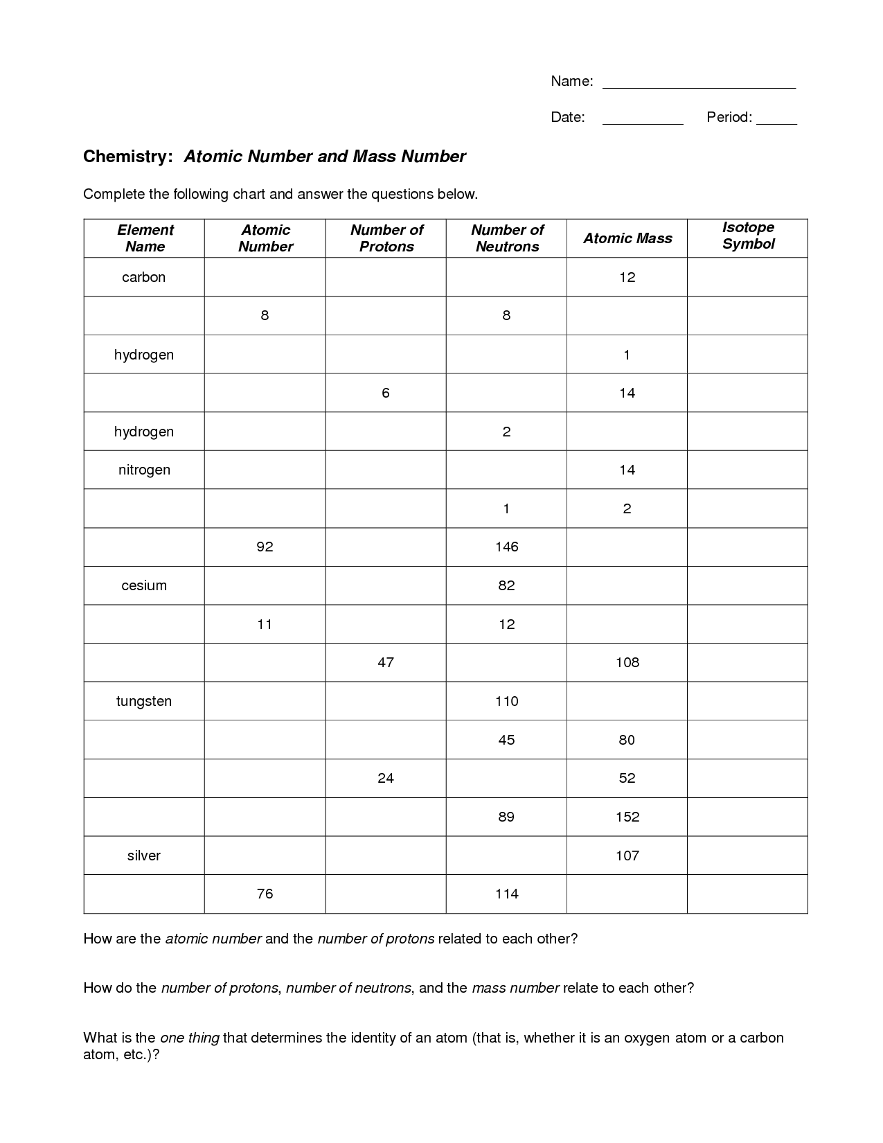 The Atomic Number Worksheet