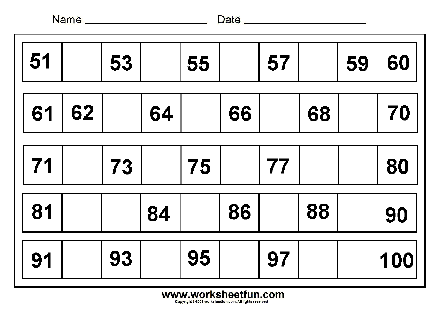 120 Number Chart Through