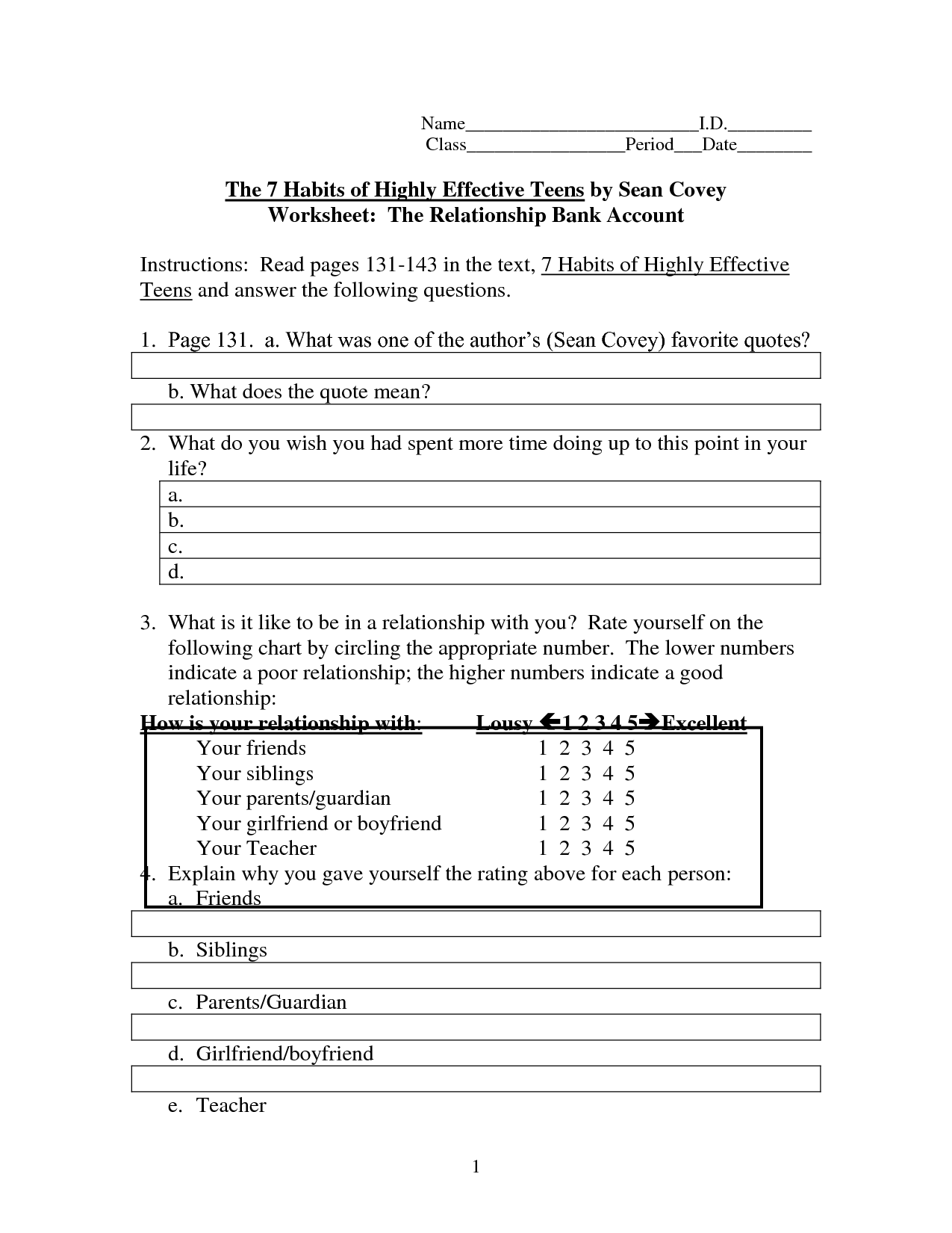 Writing Worksheet For Teens