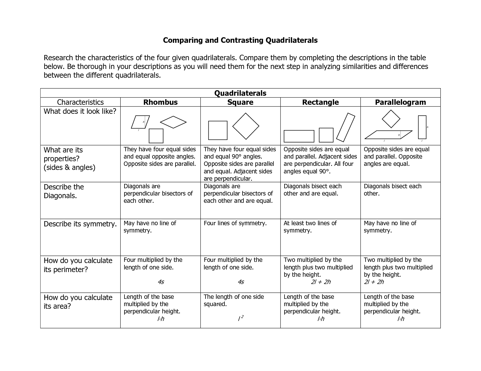 9 Best Images Of Quadrilateral Properties Worksheet