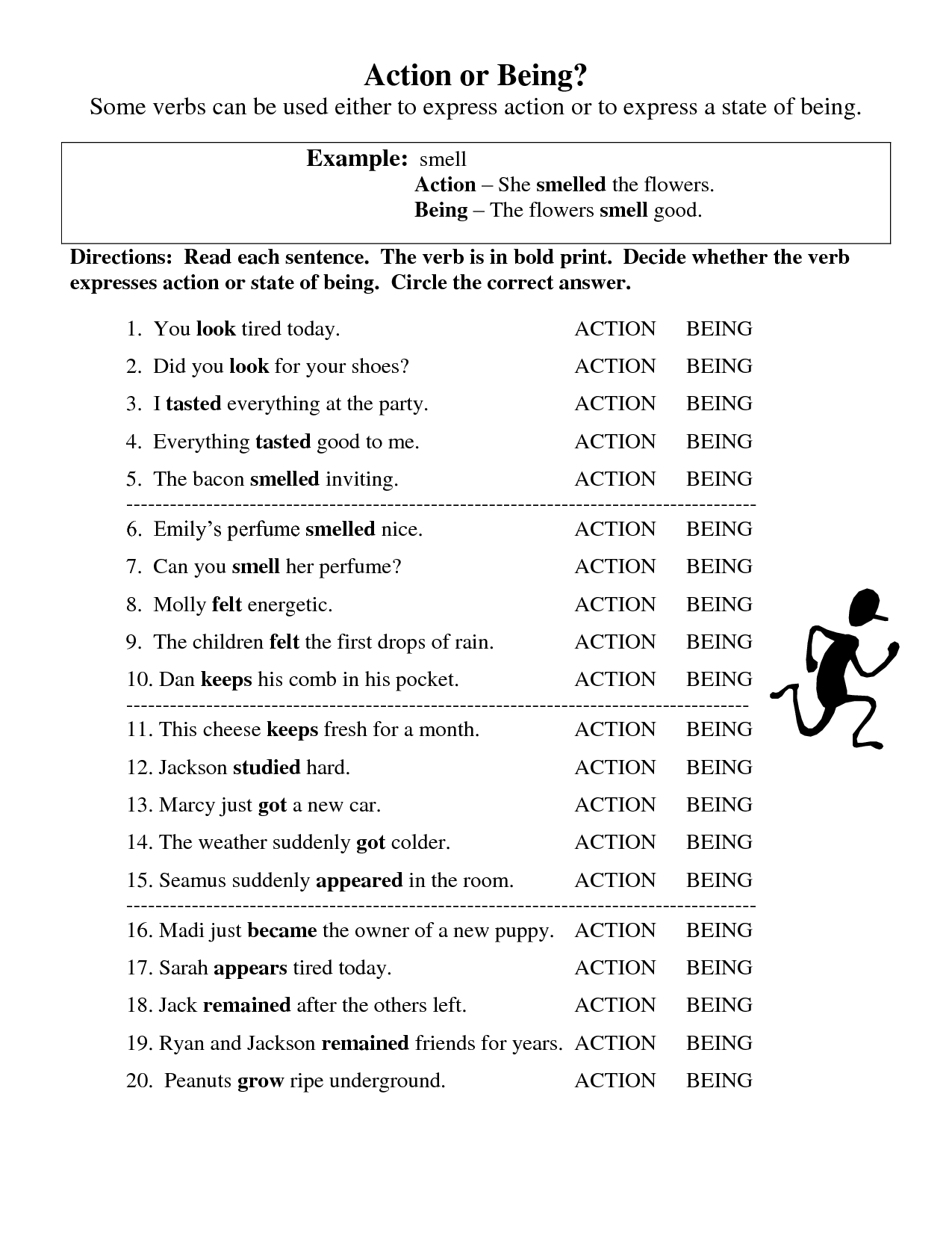 Action And Linking Verb Worksheet