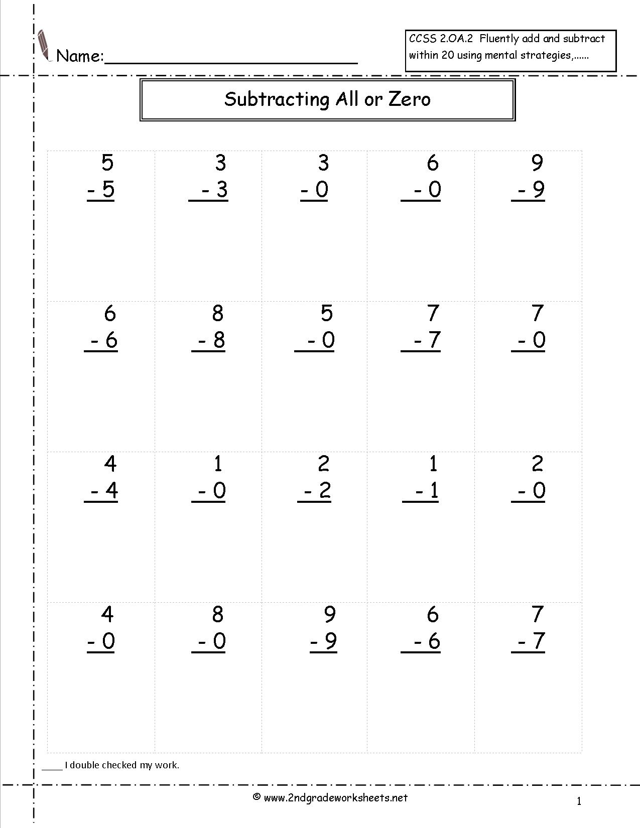 17 Best Images Of Subtracting By 0 Worksheet