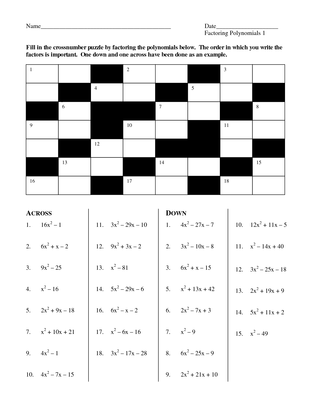 15 Best Images of Factoring Polynomials Puzzle Worksheet