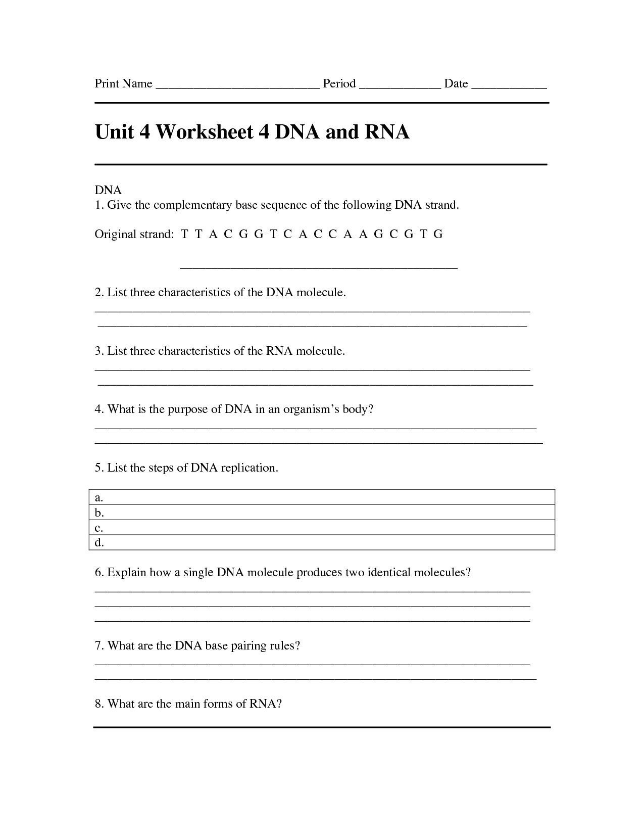 13 Best Images Of Dna Complementary Strand Worksheet