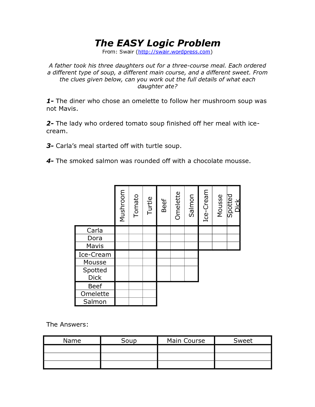 Logic Problems Math Worksheet