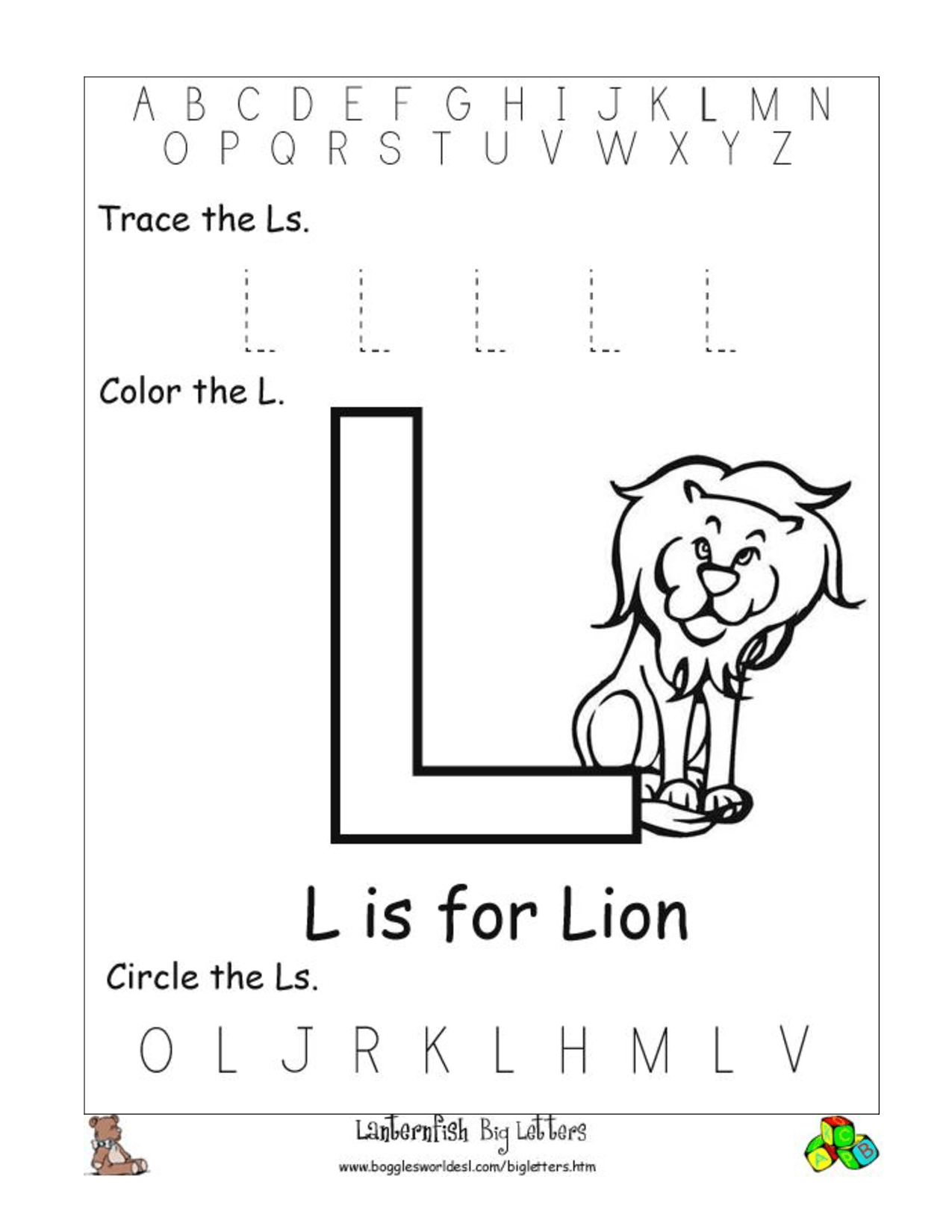 12 Best Images Of Letter L Worksheets For Pre K