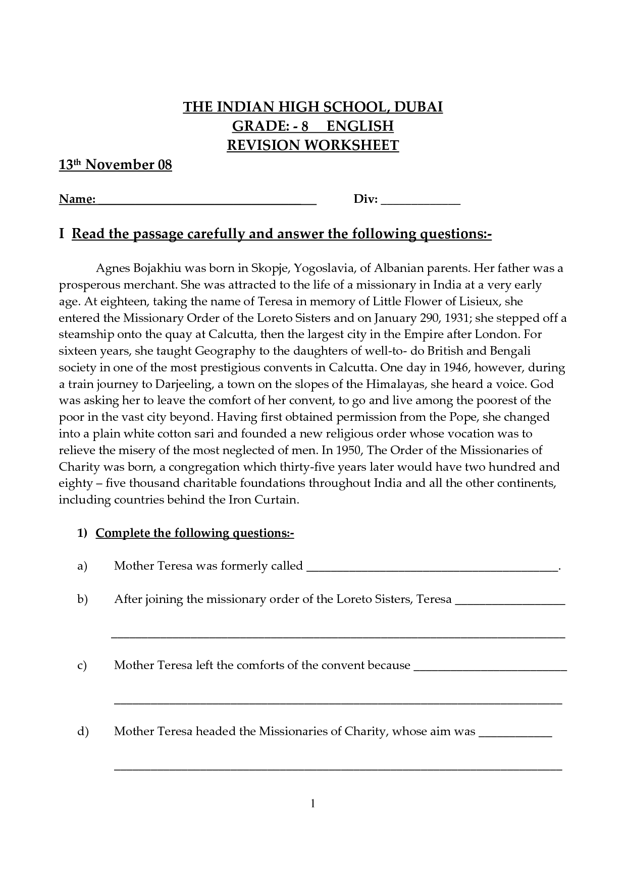 History Worksheet High School Assignments