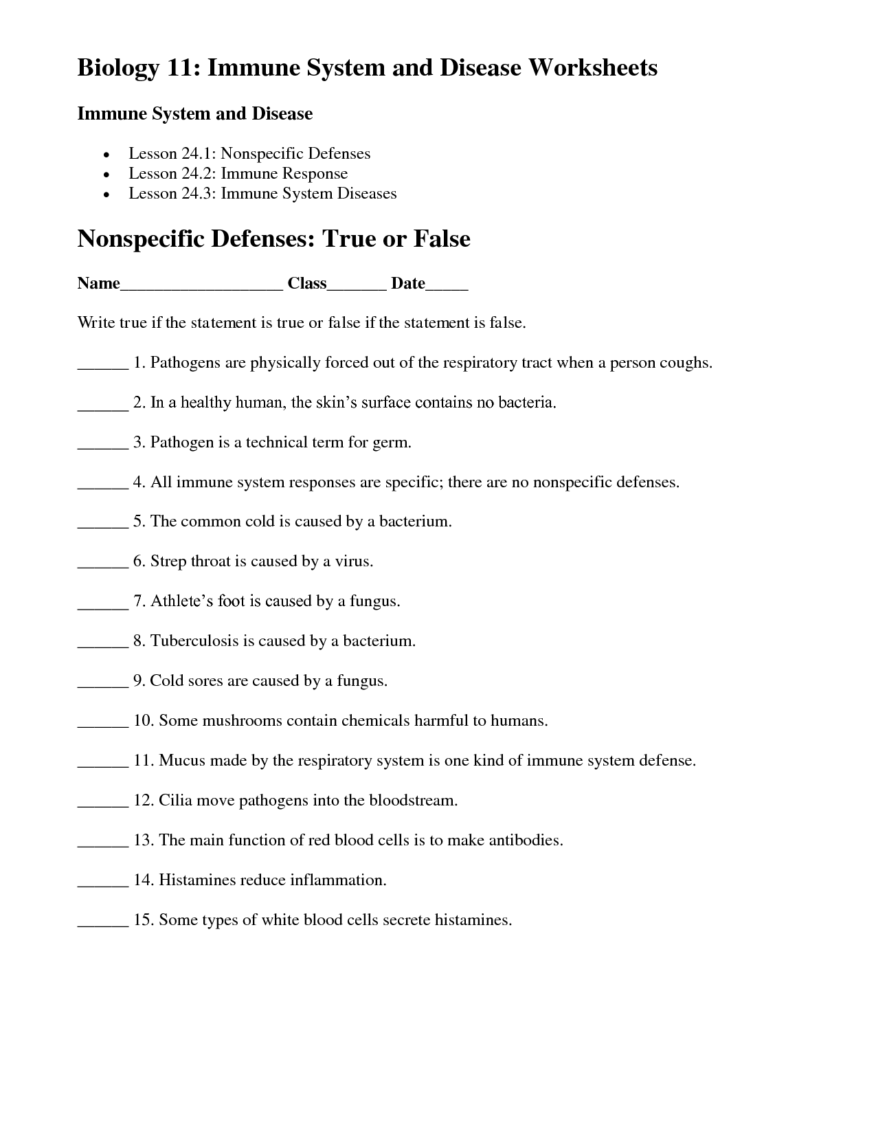 35 Immune System Worksheet High School