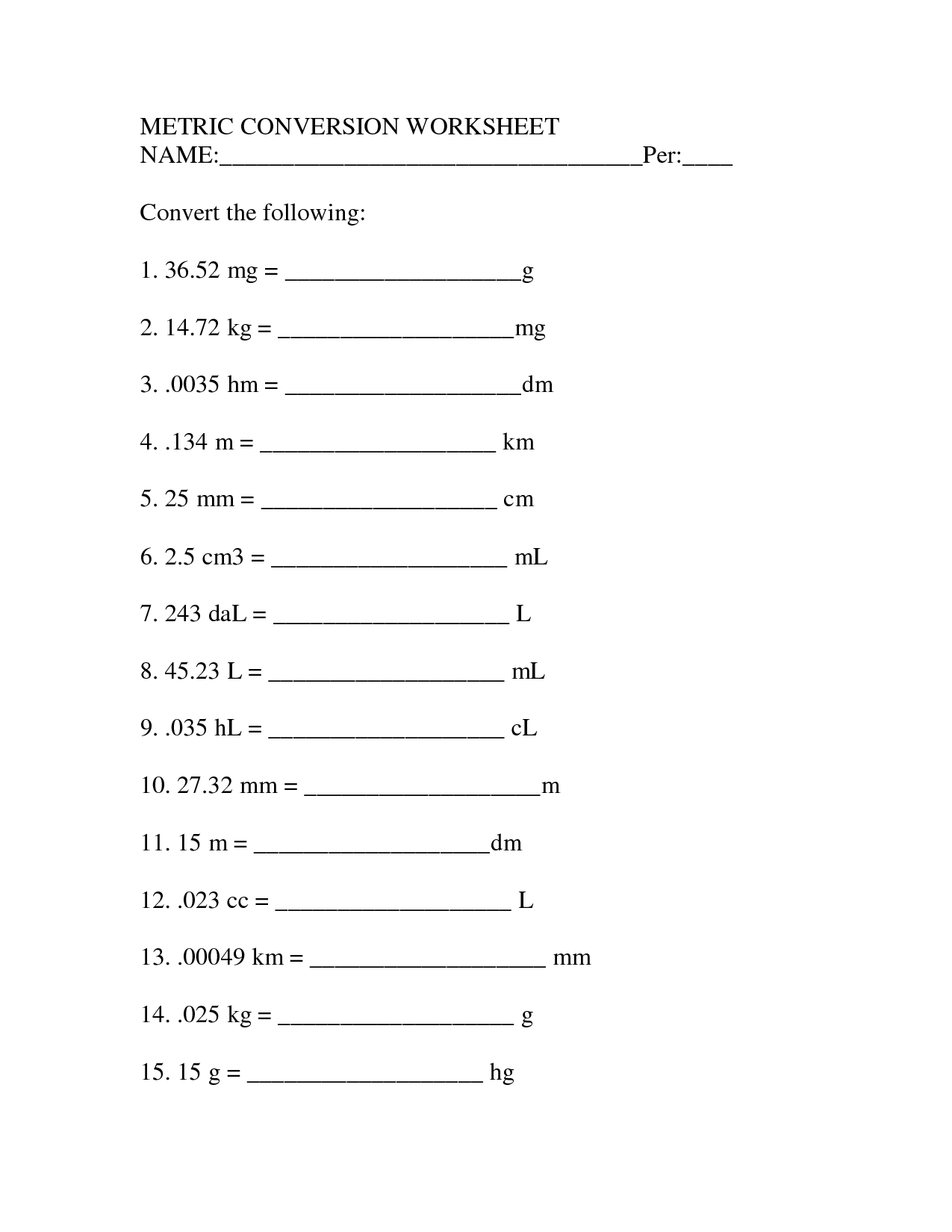 12 Best Images Of Measuring Units Worksheet Answer Key