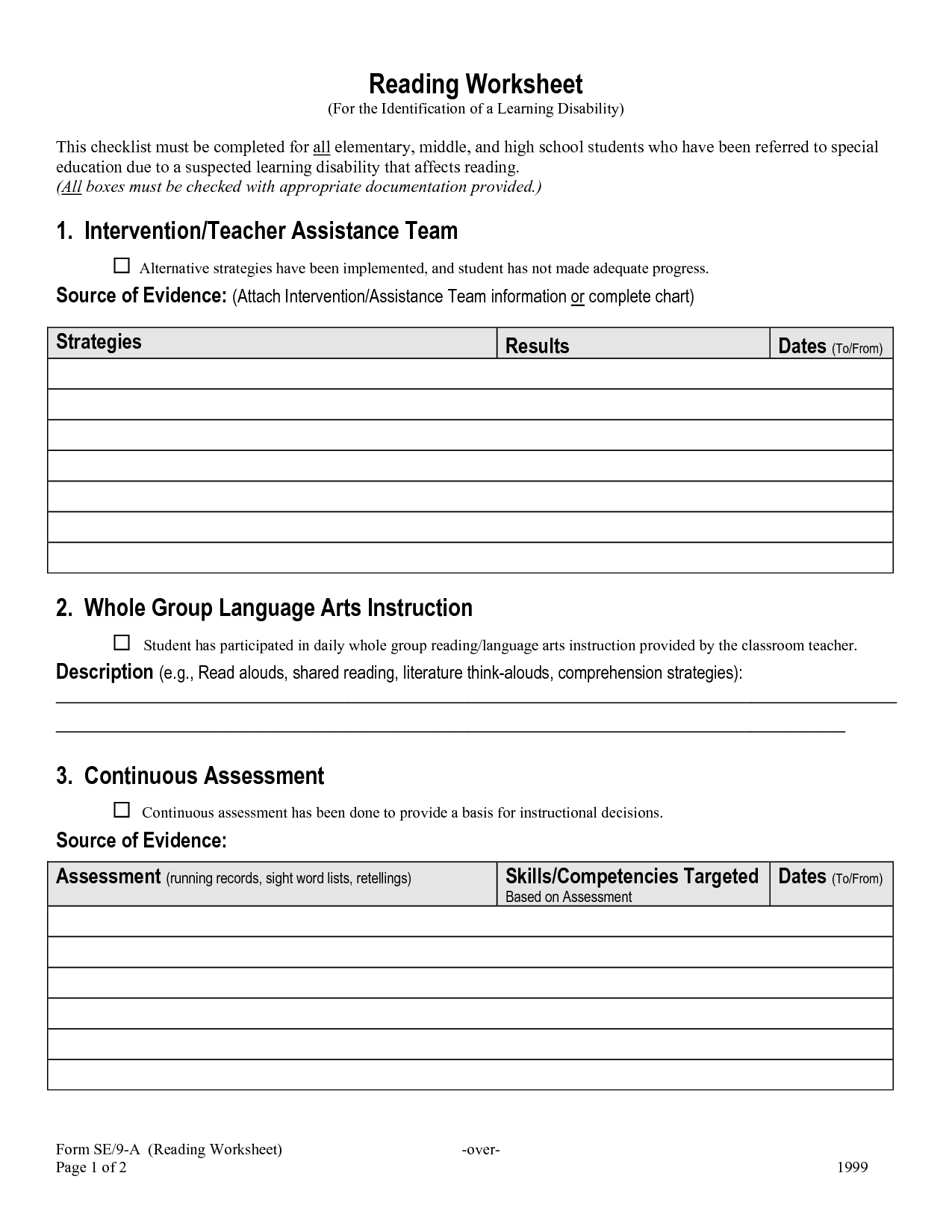 Activities Resume Worksheet