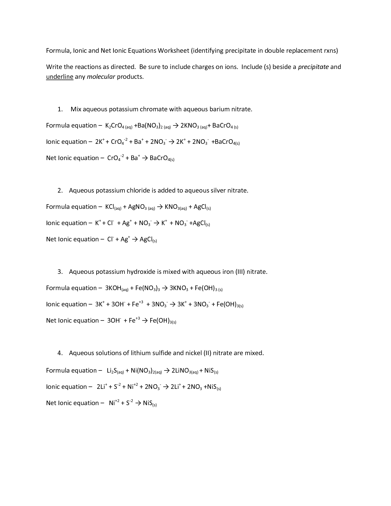 Net Ionic Equations Worksheet Doc