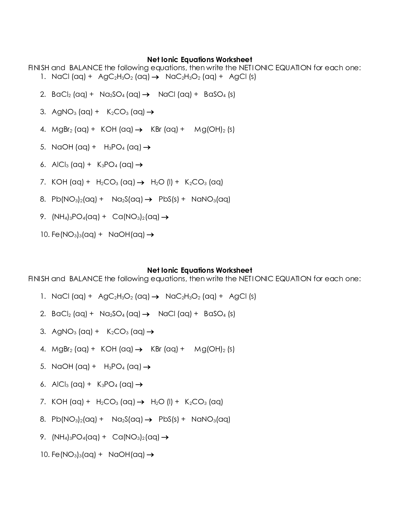 Net Ionic Equations Advanced Chem Worksheet 10 4 Answer