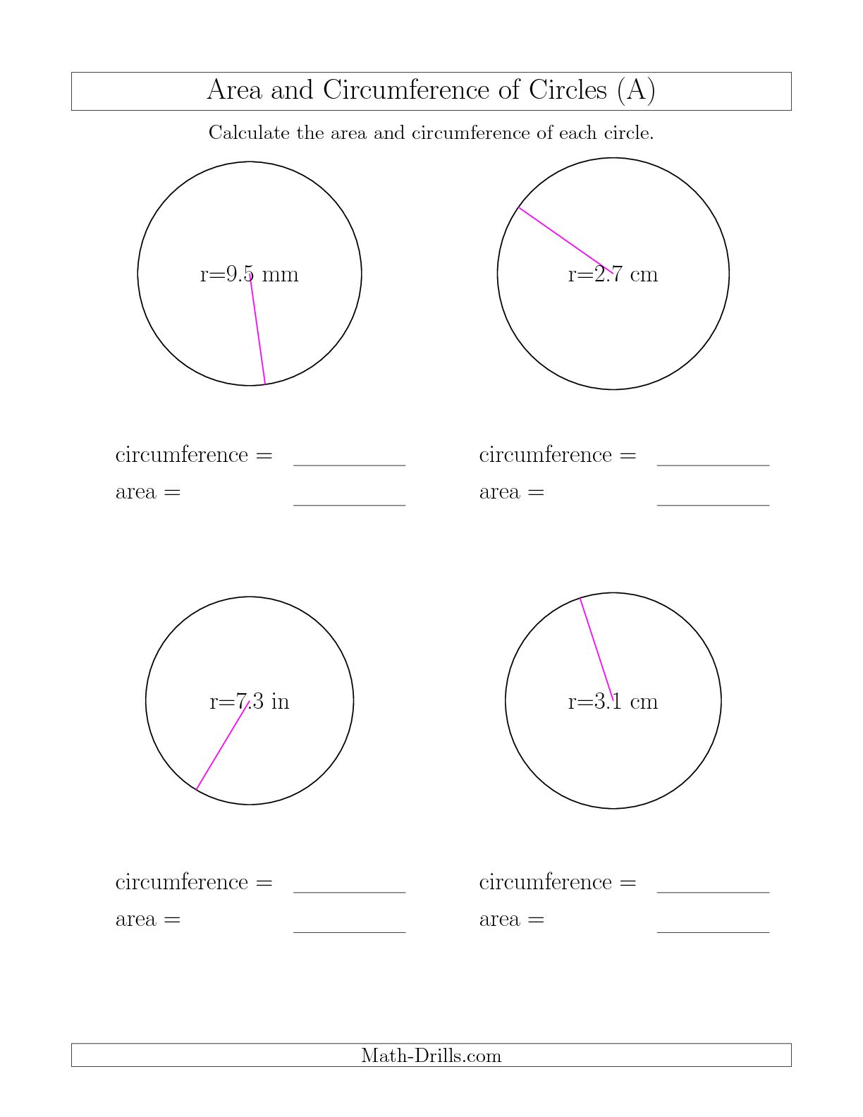 9 Best Images Of Circumference Of A Circle Worksheets