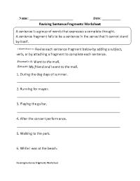 15 Best Images of Fragment Practice Worksheet - Fragment ...
