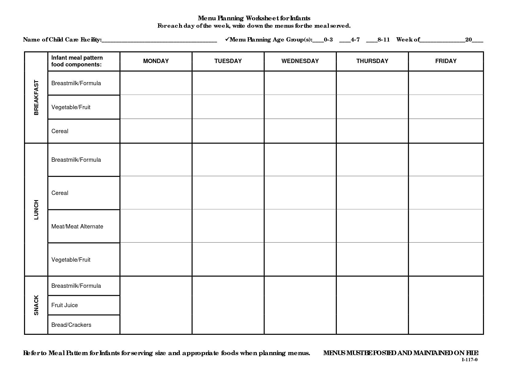 12 Best Images Of Weekly Menu Planning Worksheet