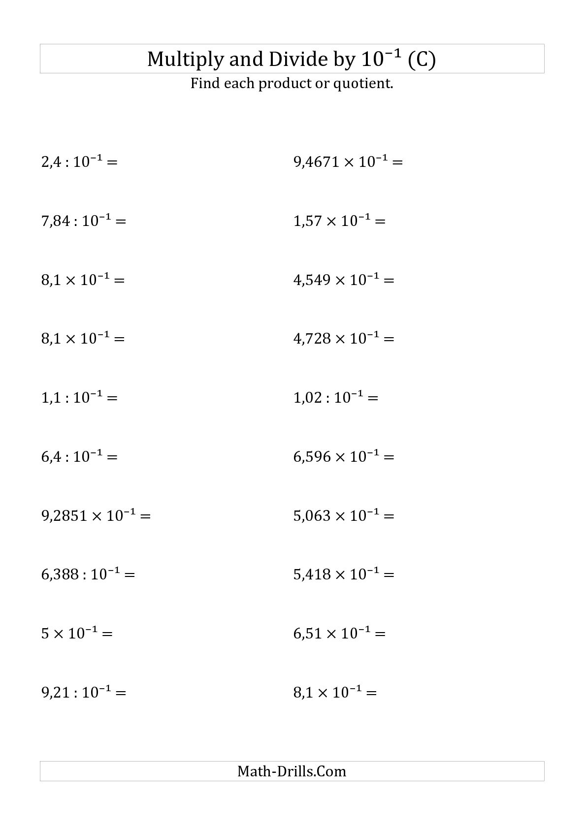 hight resolution of Dividing Decimals By 10 100 1000 Worksheet   Printable Worksheets and  Activities for Teachers