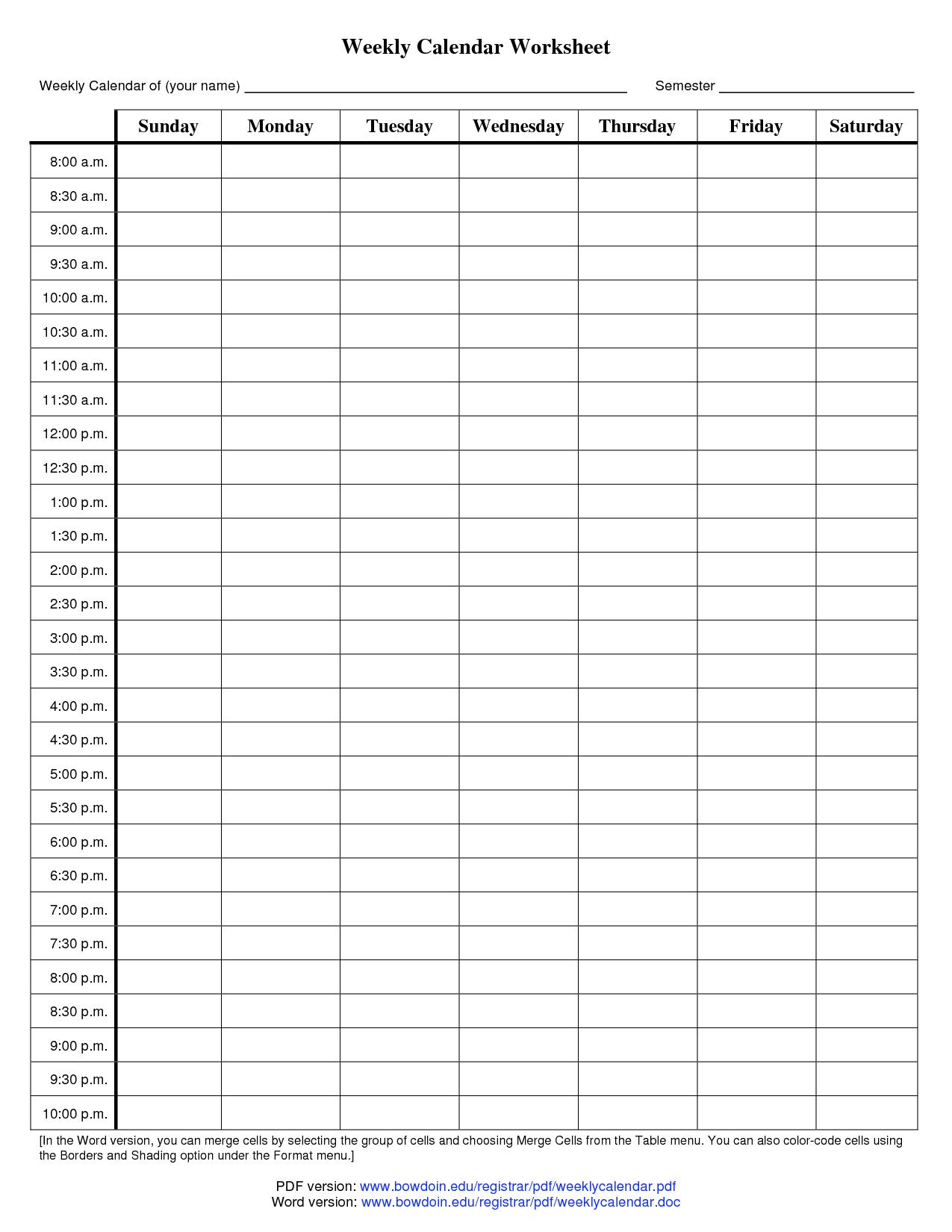 10 Best Images Of Blank Schedule Worksheet