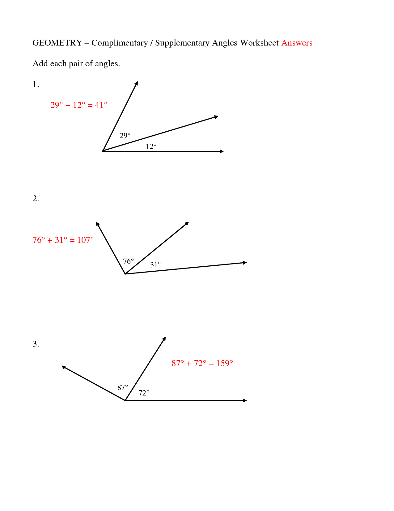 Complementary And Supplementary Angles Worksheet Answers