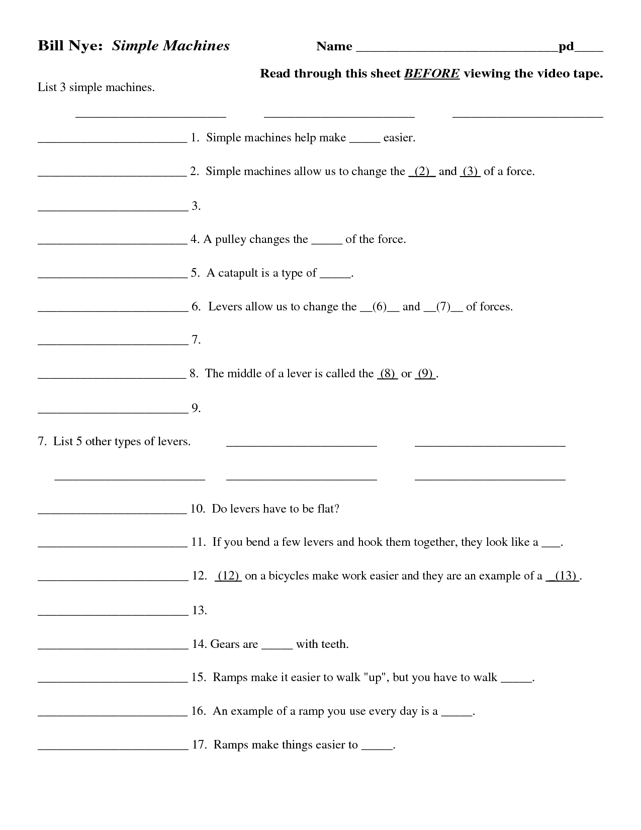 12 Best Images Of Simple Machines Worksheet Answers