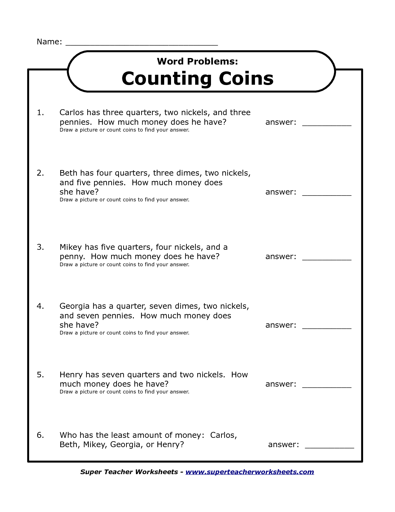12 Best Images Of Learning To Count Money Worksheets