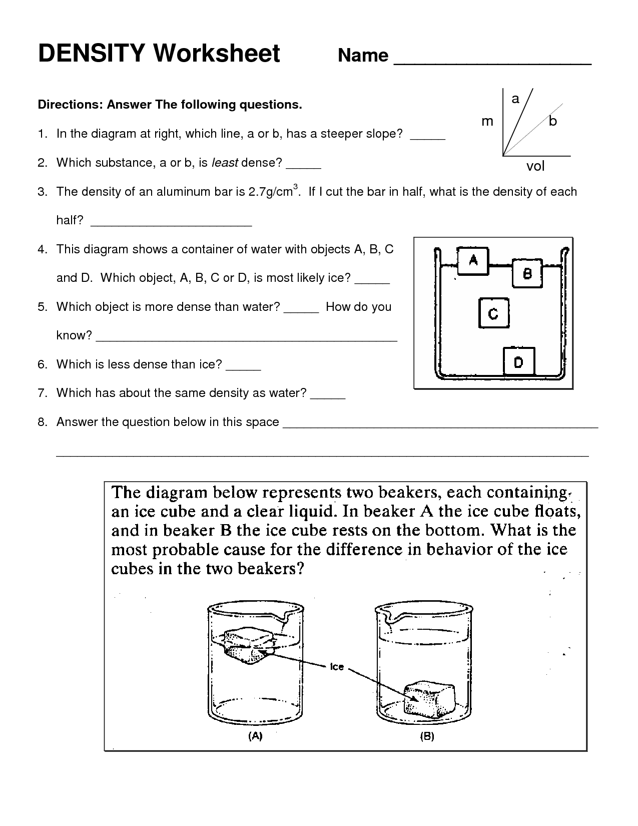 Science 8 Density Calculations Worksheet Answers