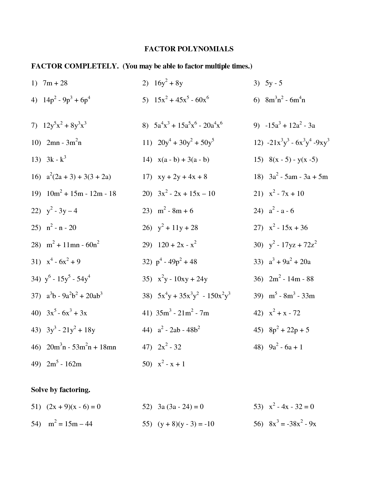 10 Best Images Of Factoring Polynomials Practice Worksheet