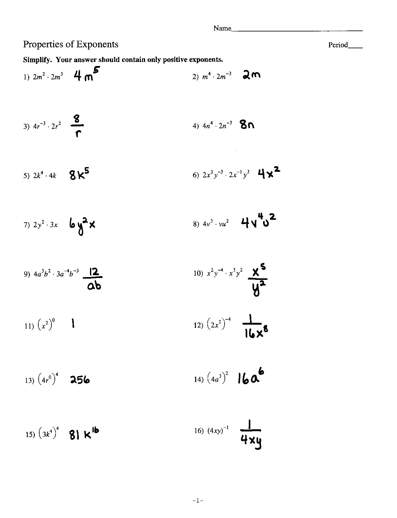 Zero And Negative Exponents Algebra Worksheet