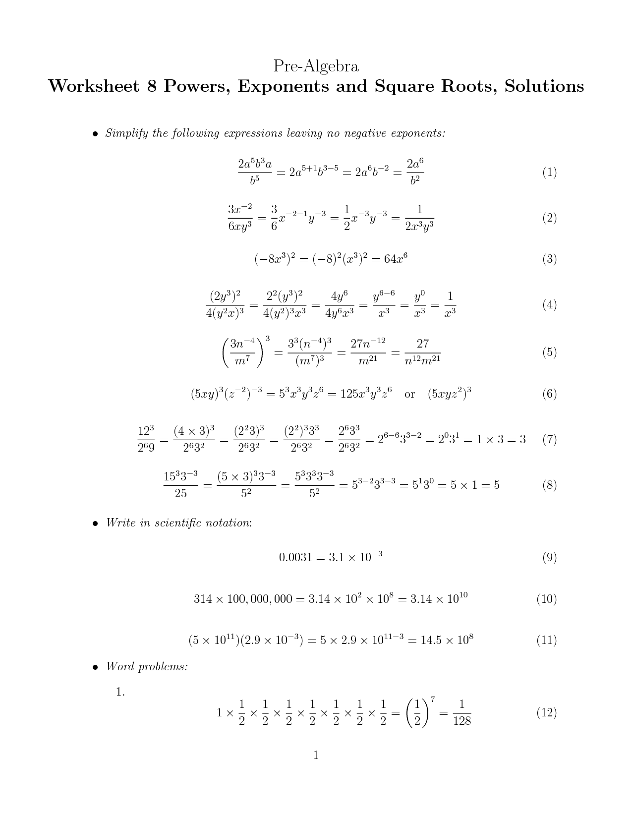 11 Best Images Of Powers And Exponents Worksheet