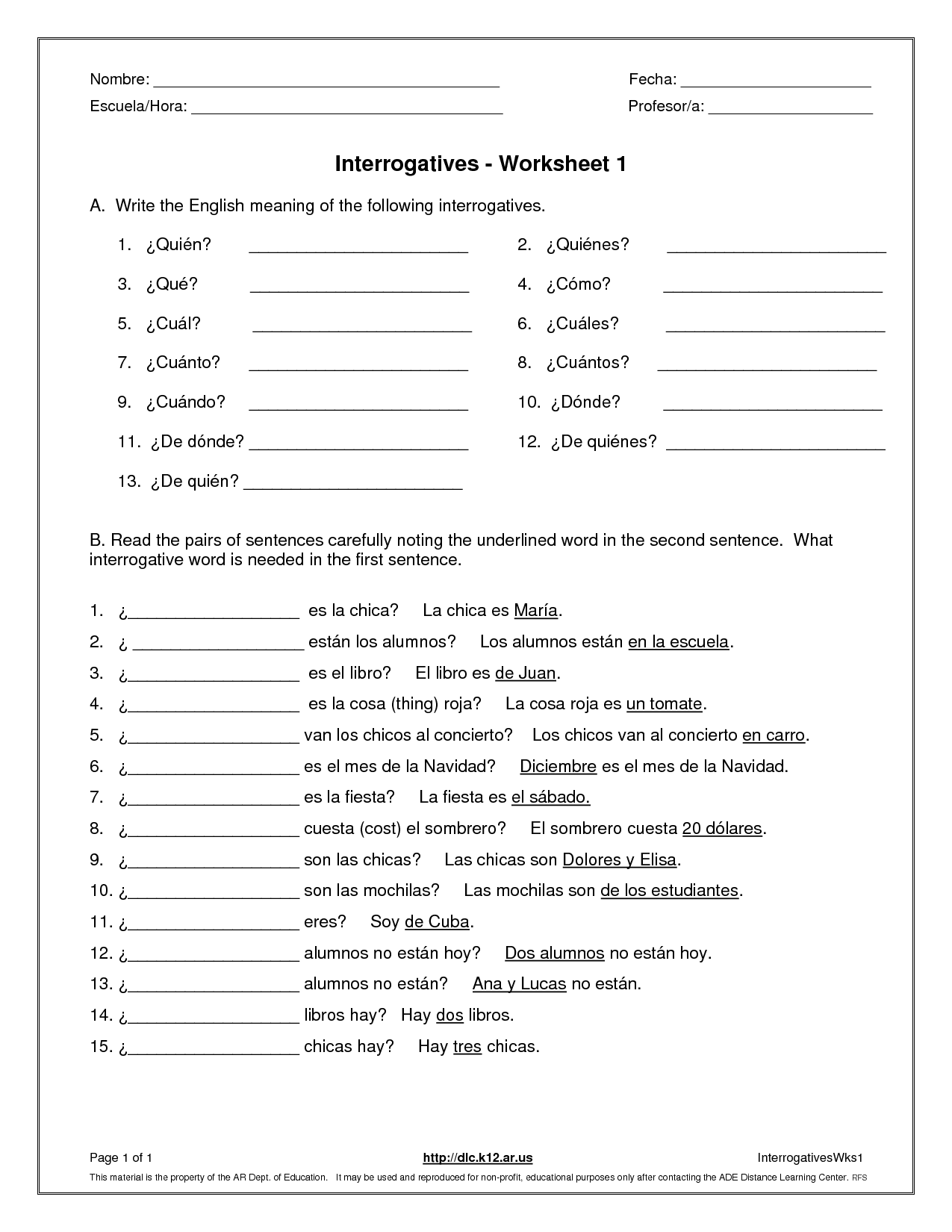 Question Worksheet Category Page 2