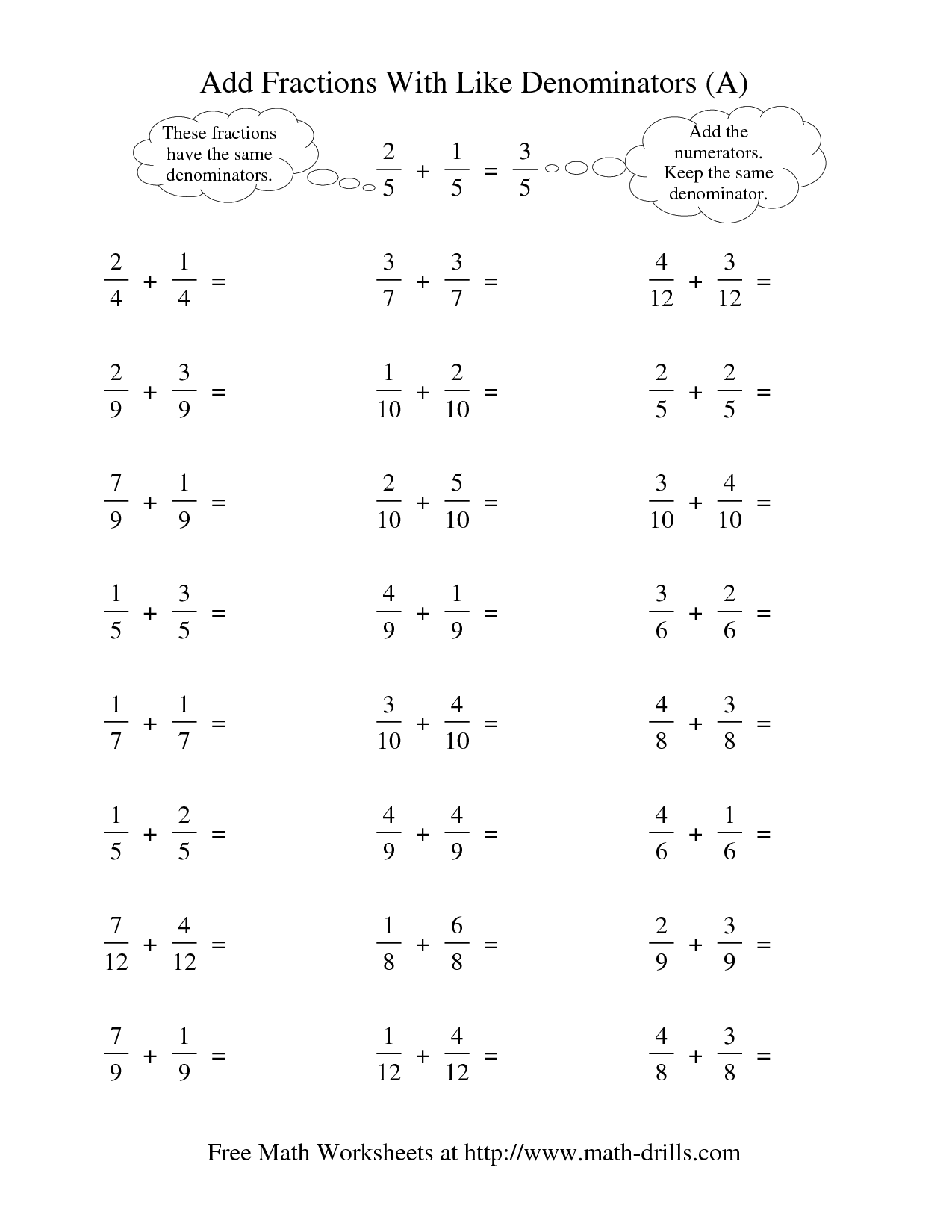 Subtracting Fractions With Unlike Denominators Worksheet