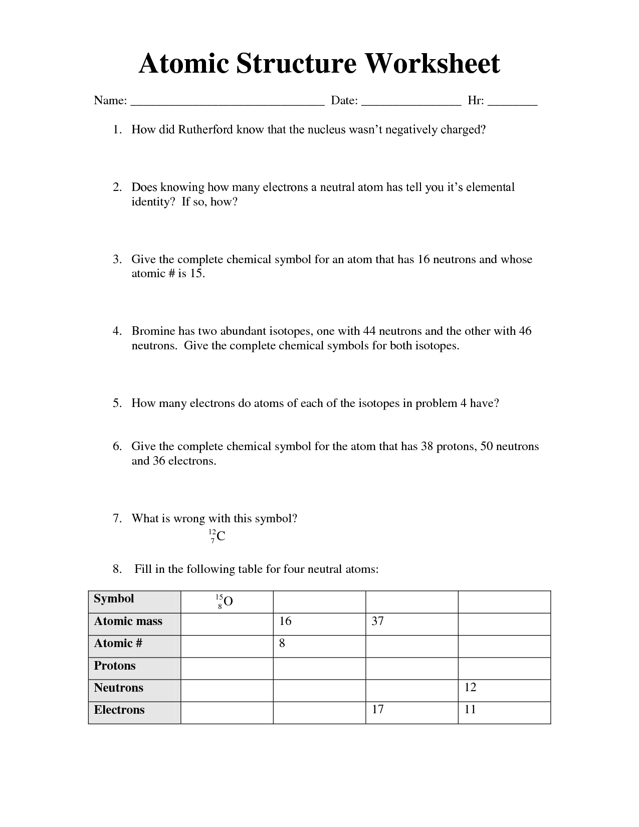 17 Best Images Of Which Atom Is Which Worksheet