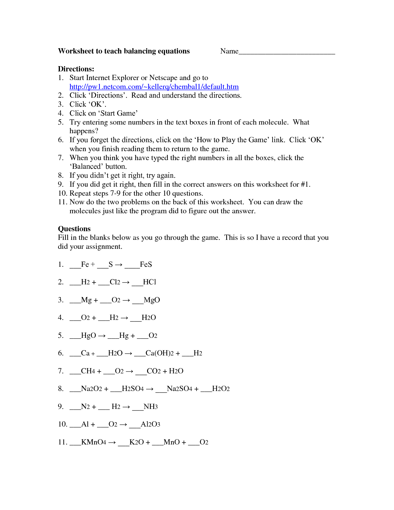 Worksheet On Balancing Equations