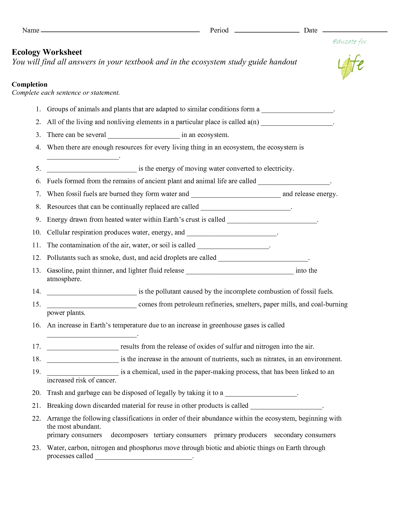 17 Best Images Of Nitrogen Cycle Worksheet Middle School