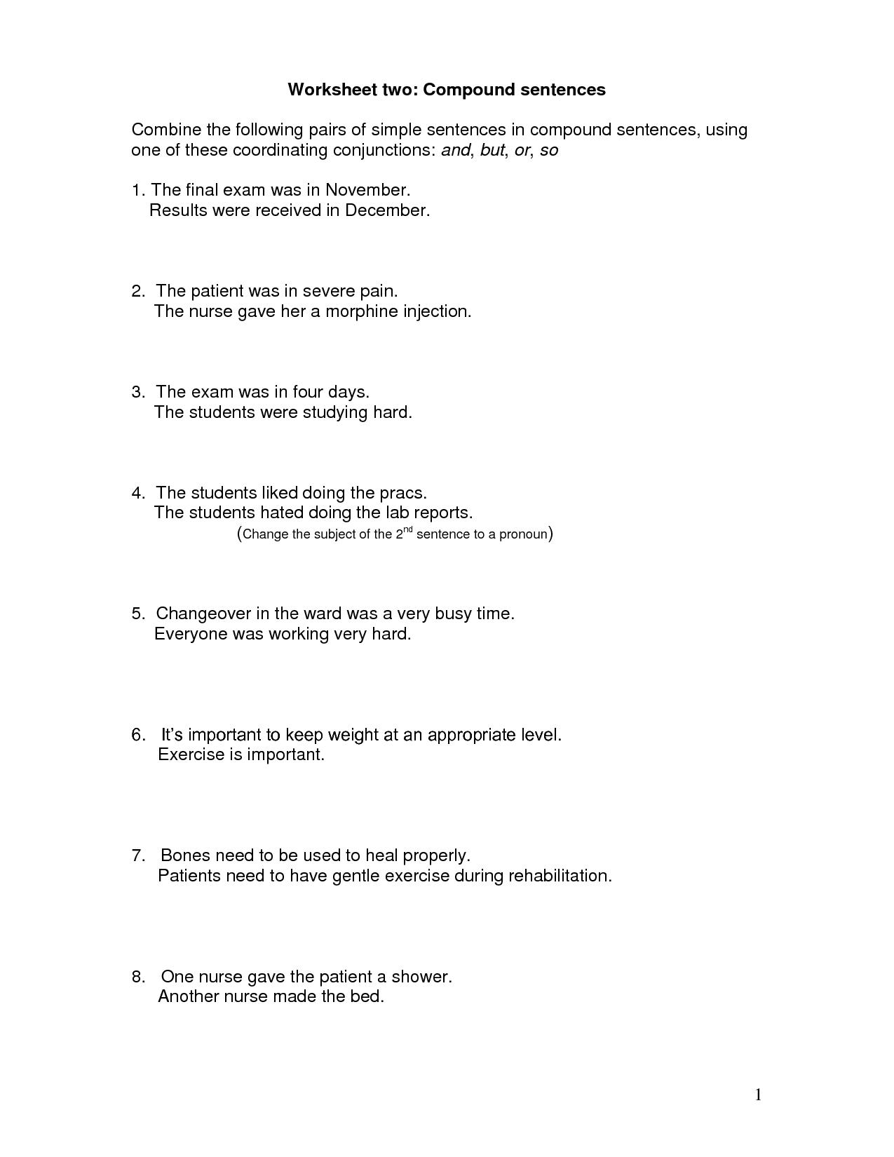 13 Best Images Of Worksheets Compound Sentences