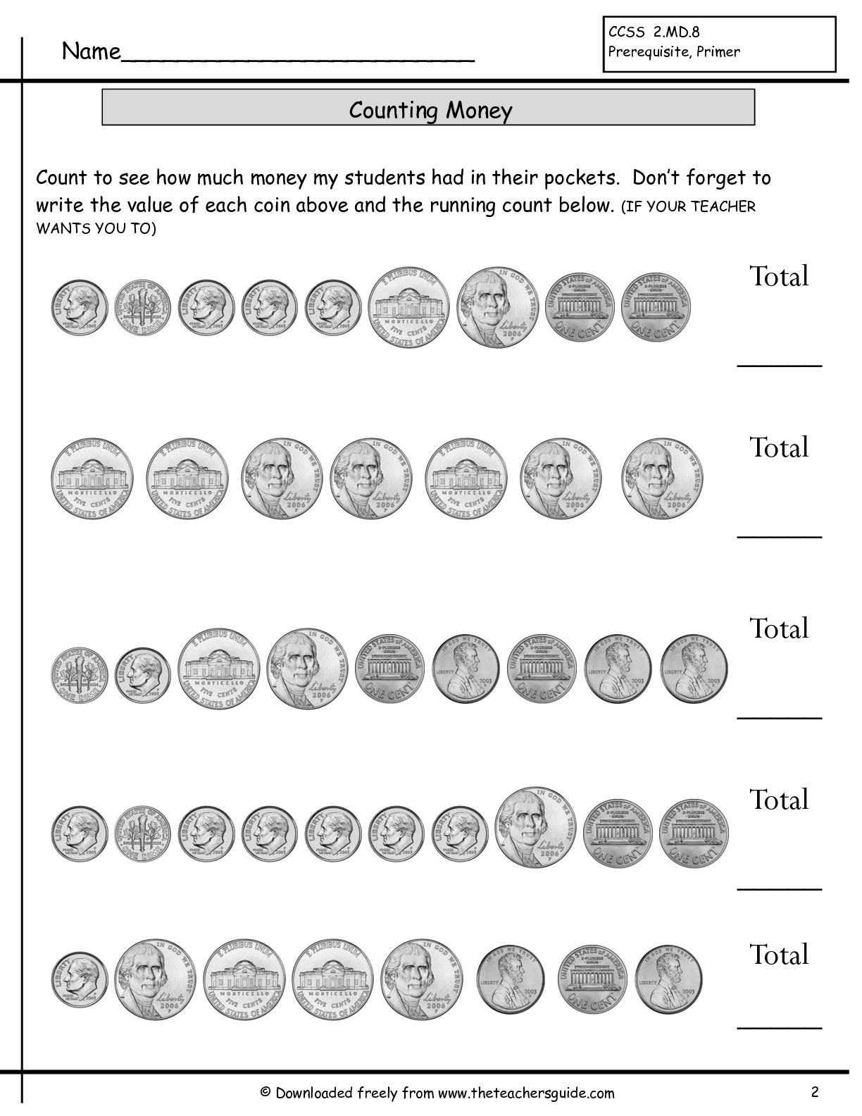 Money Math Worksheet 1st Grade