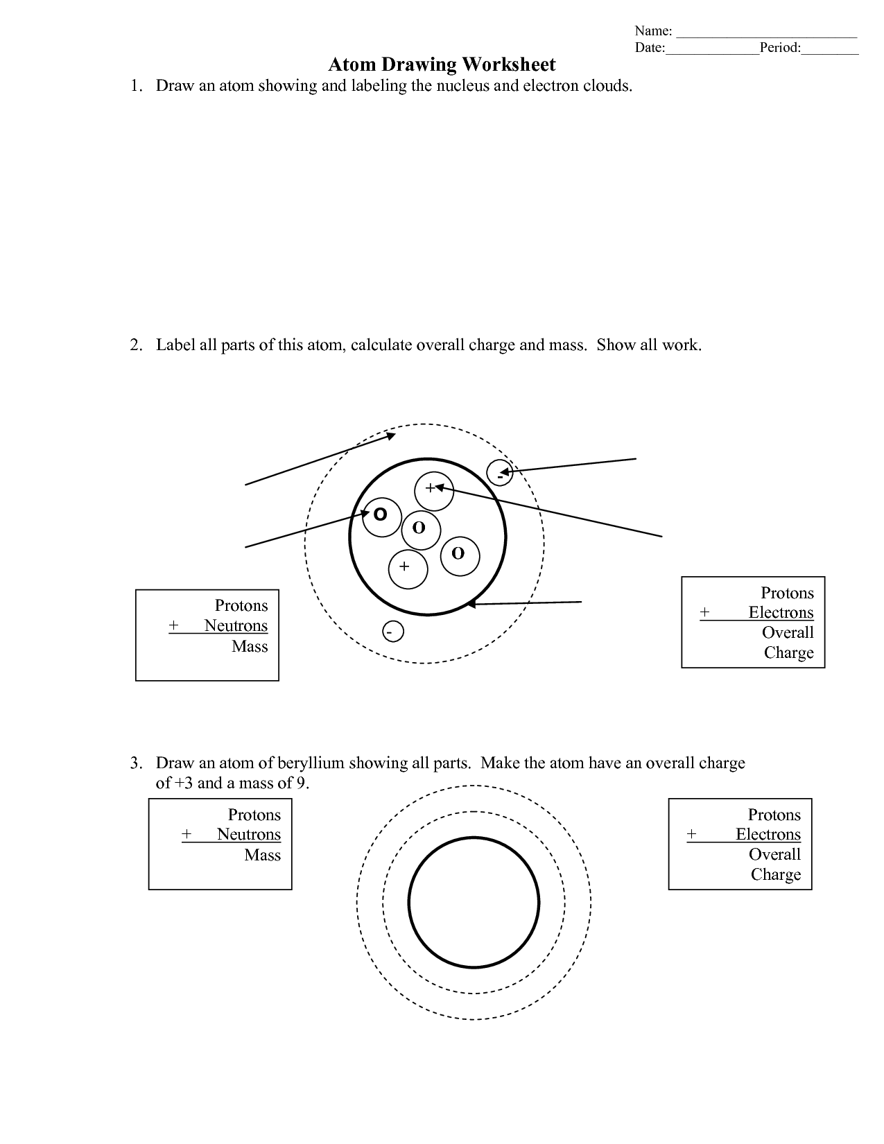 Bohr Model Drawing Worksheet Key