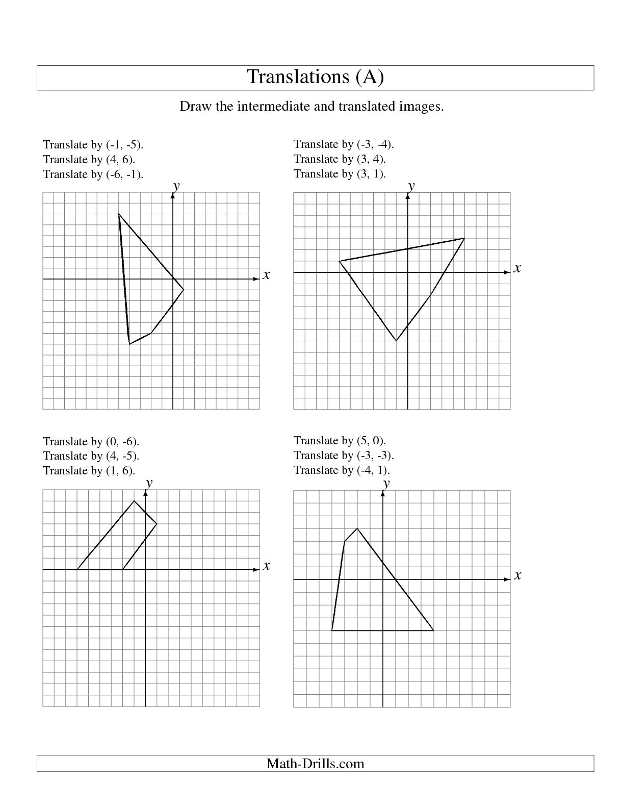 14 Best Images Of Translation Math Worksheets