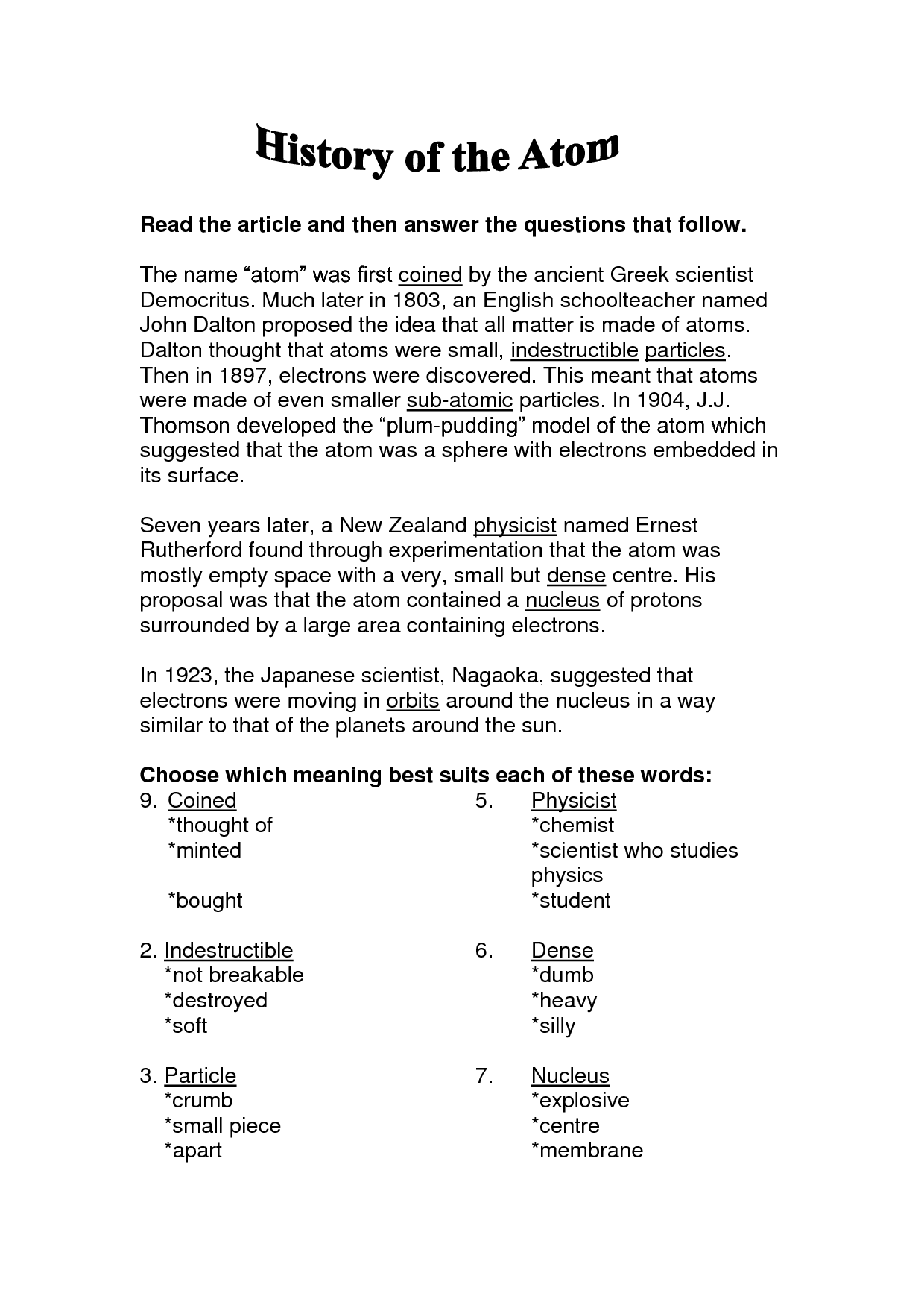 Atom Basics Worksheet Answers