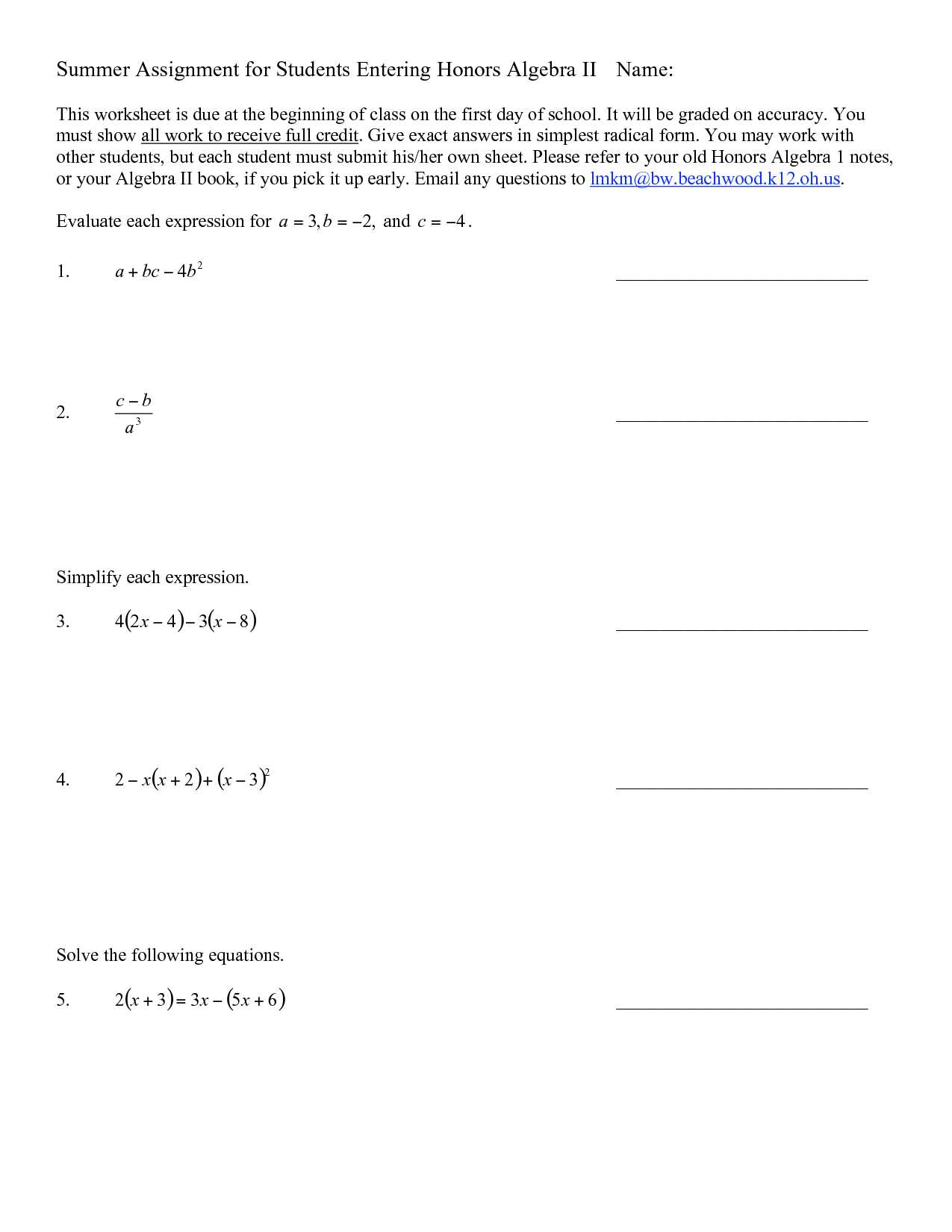 9 Best Images Of Beginning Algebra Worksheets Free
