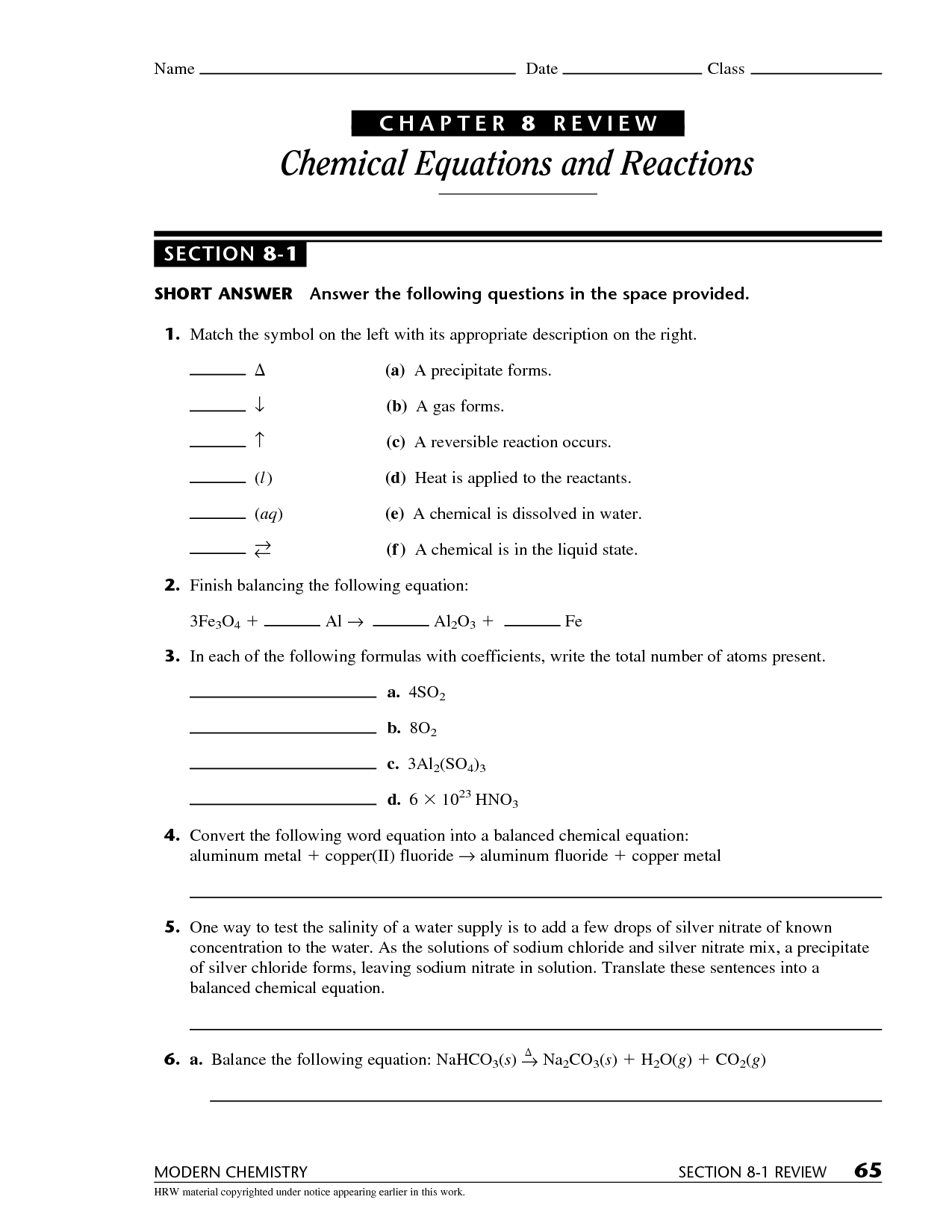 33 Chemical Reactions Review Worksheet Answers