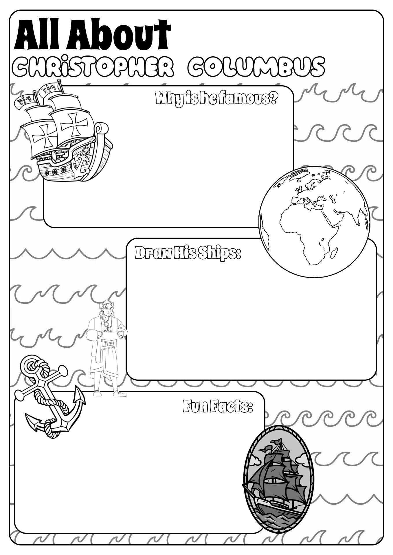 13 Best Images of Christopher Columbus Kindergarten