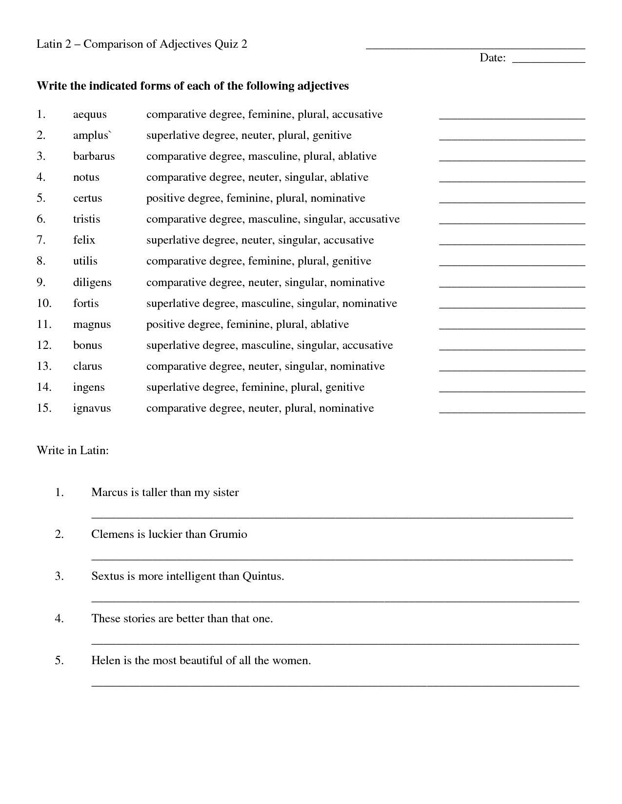 11 Best Images Of Adjectives Degrees Of Worksheets