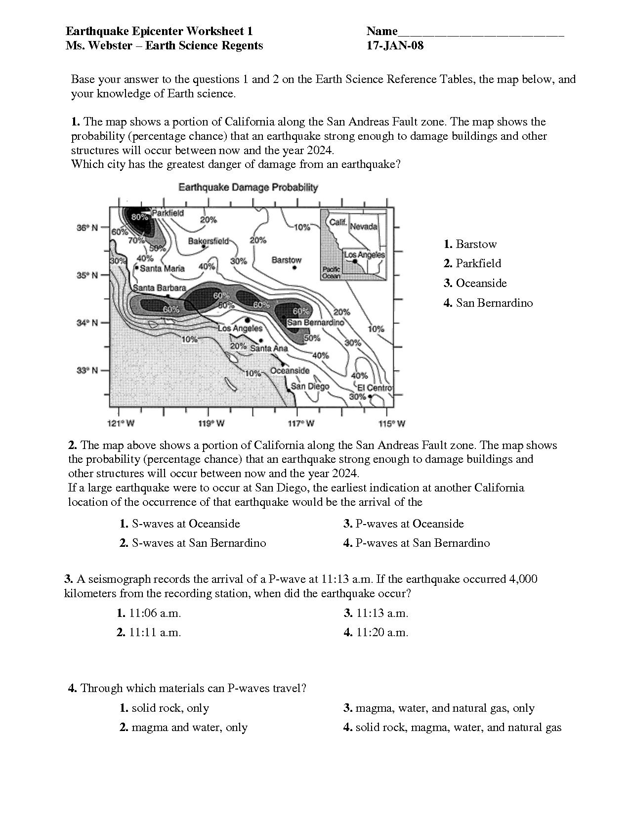 hight resolution of 6th Grade Science Worksheet Earthquakes   Printable Worksheets and  Activities for Teachers
