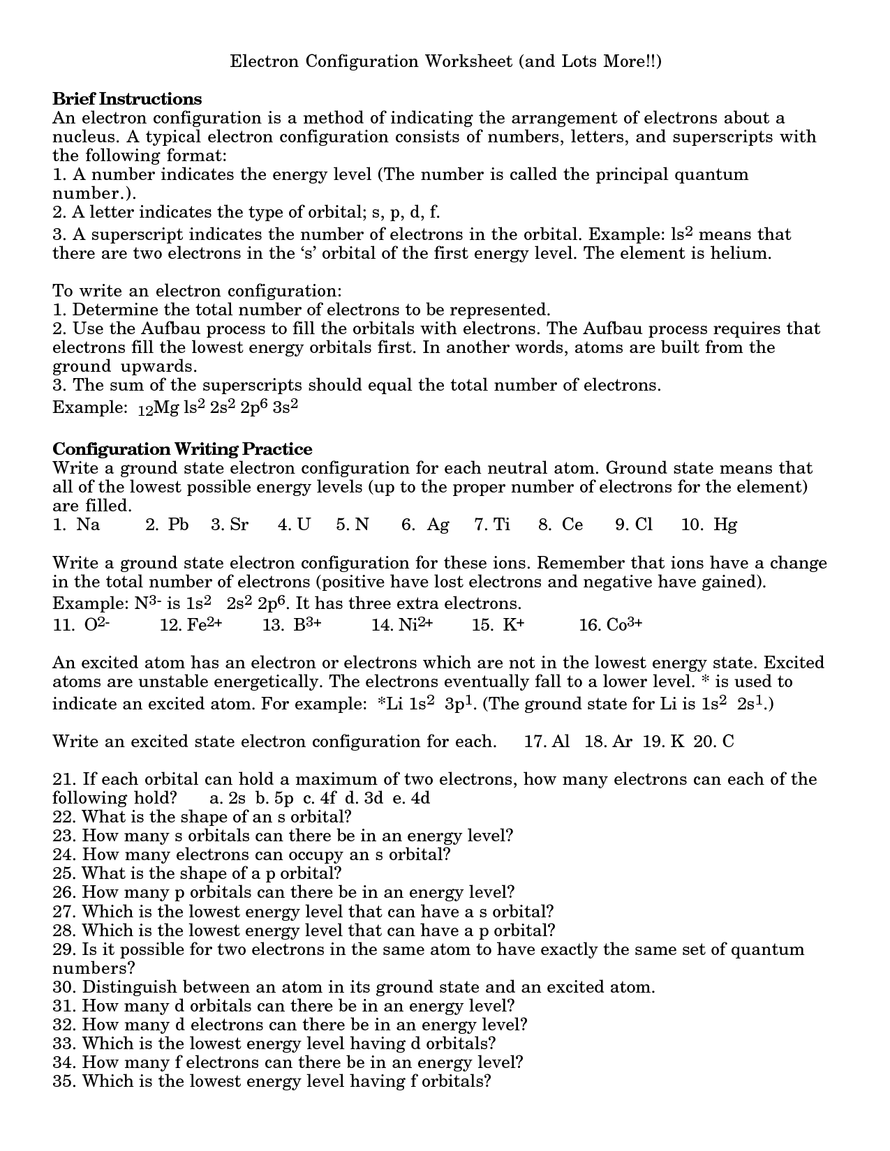 11 Best Images Of Electron Configuration Practice Worksheet