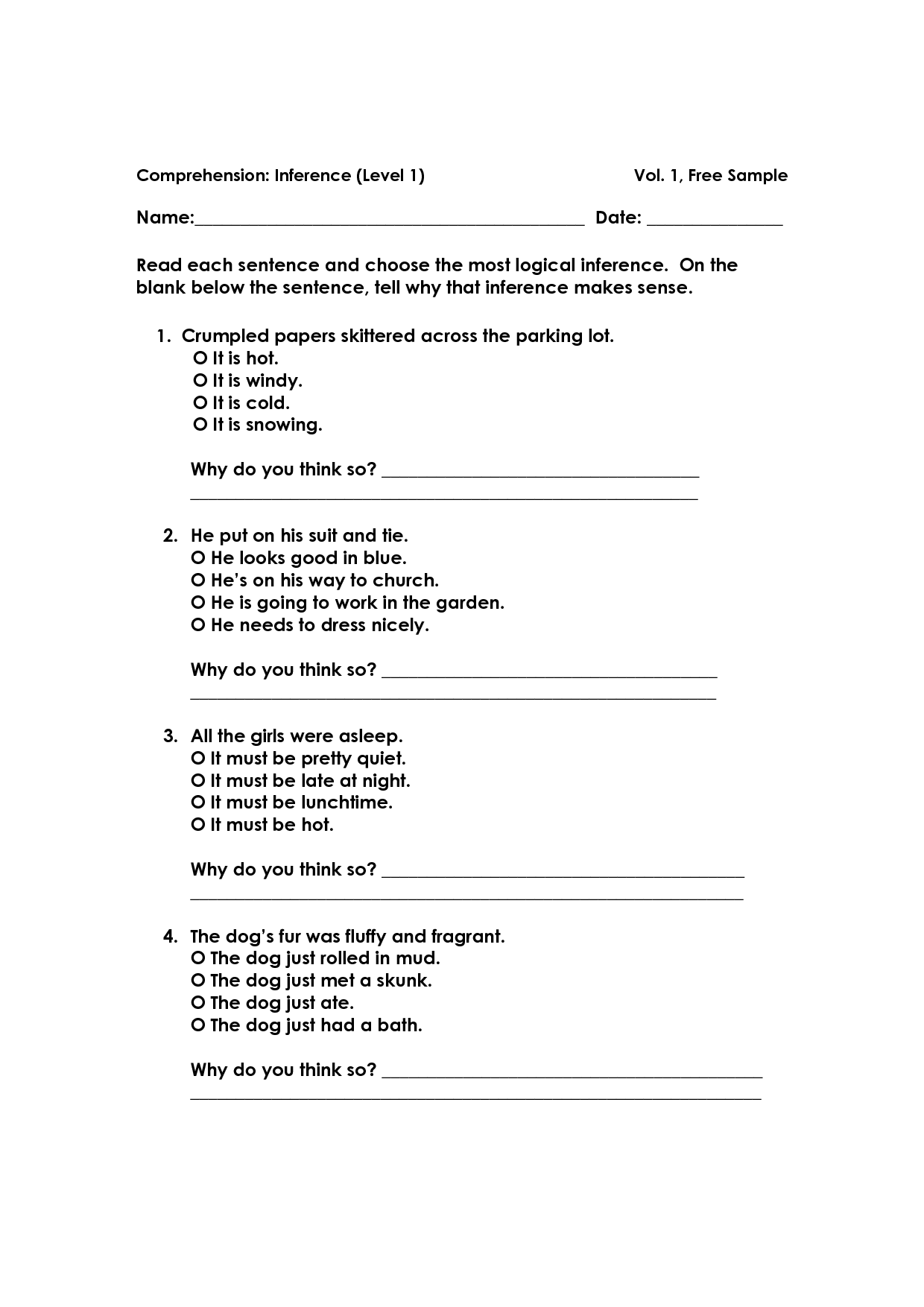 Drawing Conclusions Worksheet Grade 4 Printable