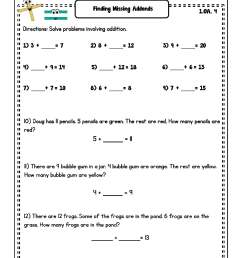 Missing Addend Worksheets   Printable Worksheets and Activities for  Teachers [ 2420 x 1870 Pixel ]