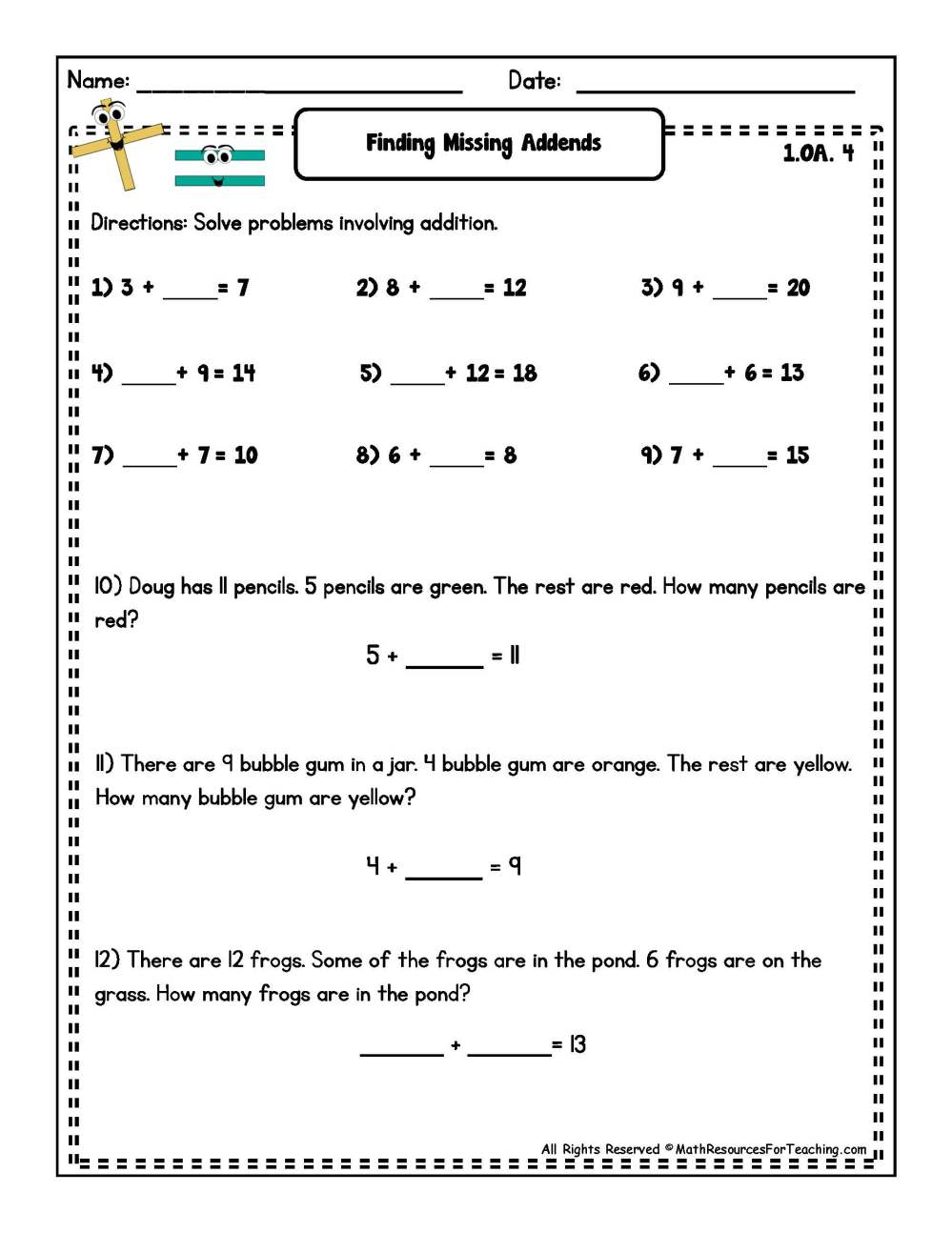 medium resolution of Missing Addend Worksheets   Printable Worksheets and Activities for  Teachers