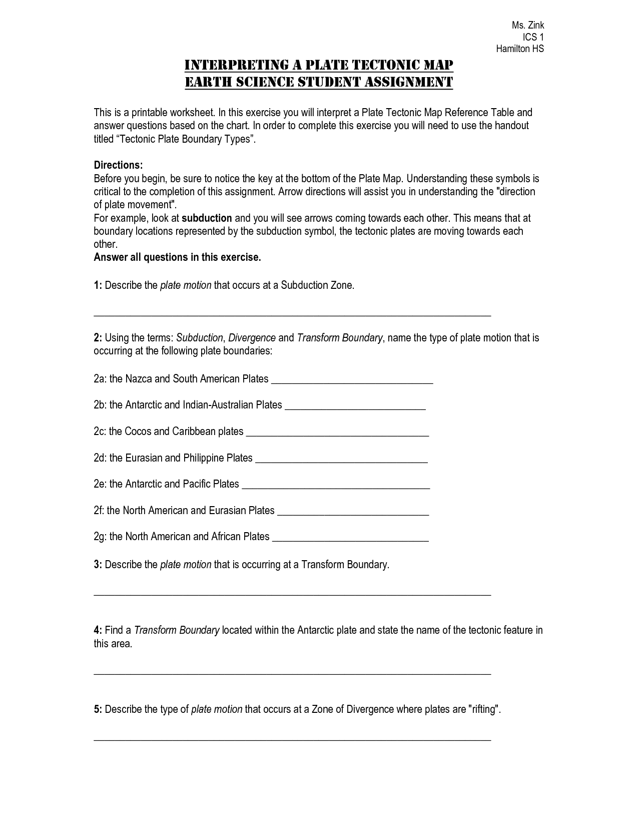 15 Best Images Of Types Of Boundaries Worksheet